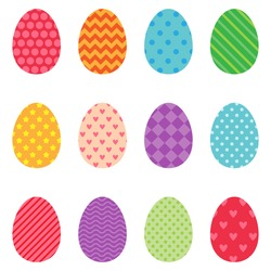 Different colored Easter eggs icons. Vector illustration