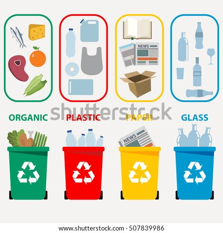 Different colored recycle waste bins vector illustration, Waste types segregation recycling vector illustration. Organic, batteries, metal plastic, paper, glass waste. Vector illustration