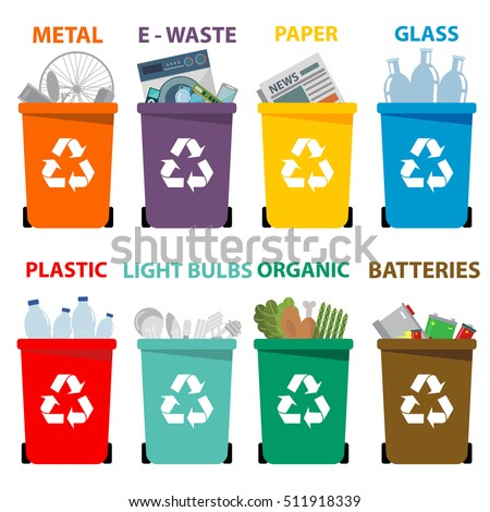 Different colored recycle waste bins vector illustration, Waste types segregation recycling vector illustration. Organic, batteries, metal plastic paper, glass, e-waste, light bulbs.