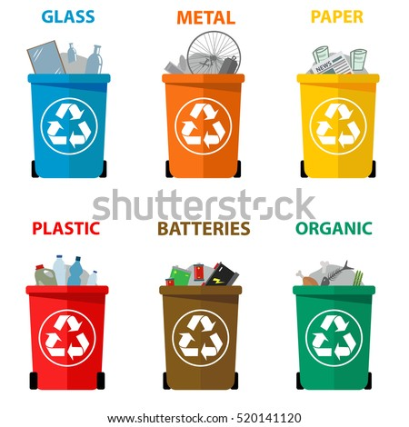 Different colored recycle waste bins vector illustration, Waste types segregation recycling vector illustration. Organic, batteries, metal plastic, paper, glass, e-waste, light bulbs.
