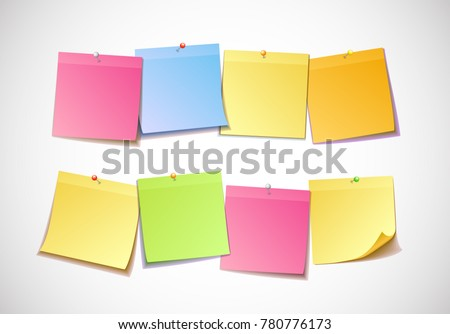 Different colored sheets of note papers collection. Curled corner and push pin. Template for your message. Vector illustration. Isolated on white background.