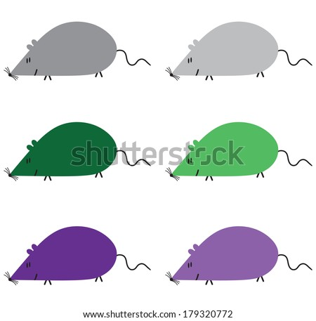 Different colored six mice on the white background