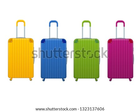 Different colorful Business and family vacation travel luggage bag, handbag baggage modern. Set of suitcases and backpacks isolated on white.