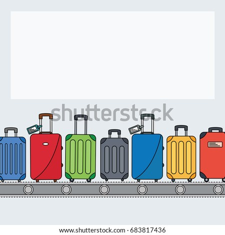 different colorful luggage bag with black line or outline. suitcase on conveyor belt. Baggage claim at airport vector travel bags on background flat design style with space for text & for magazine