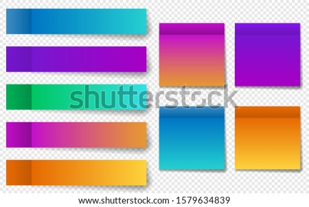 Different colorful post note stickers, vector collection. Sticky tapes with shadow template. Color gradient stickers. EPS 10