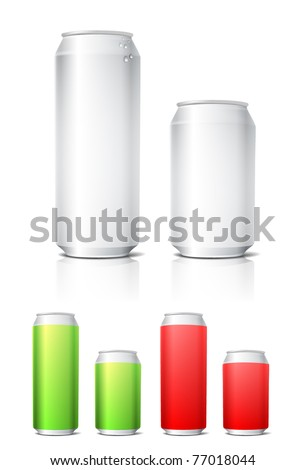 Different colors aluminium cans template