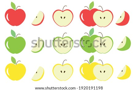Different colors and parts of apples vector set. Fruit design elements. Whole apples, slices, leaves and apple seeds vector design elements isolated on white. Red, green and white apples set.