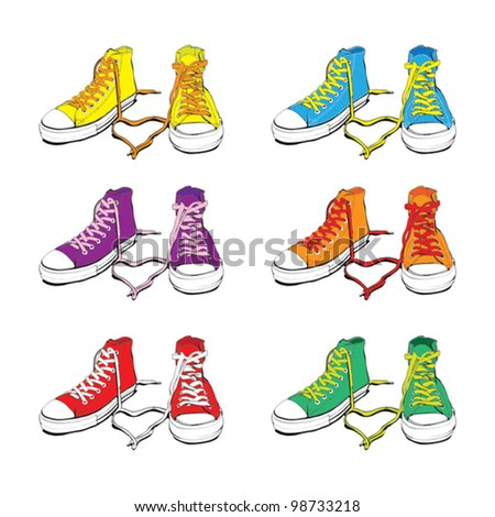 Different Colors Sneakers With Lovely Heart