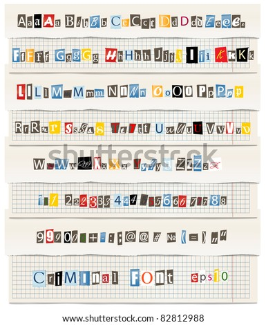 Different colors vector letters from newspaper and magazines collection