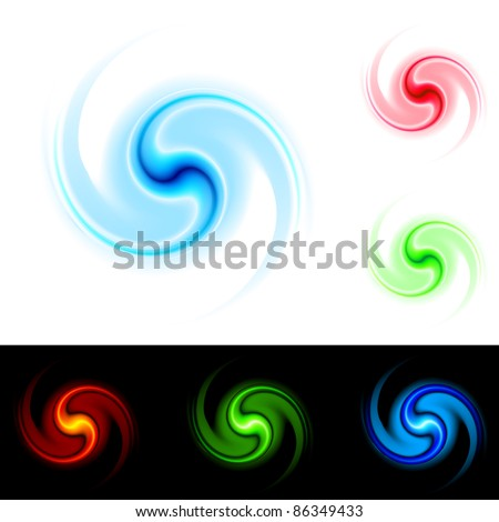 Different colors vortex. Illustration on white and black background for design.