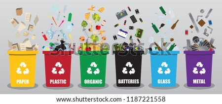 different coloured recycle