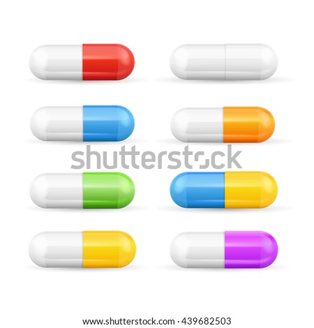 Different Colours Pills Capsules Set Isolated on White Background. Antibiotics, Painkillers or Vitamins. Vector illustration