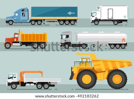 Different commercial truck. Lorry, freezer, tipper, road tanker, mounted crane, mining trucks vector illustrations. Truck side view isolated. Vehicles freight transportation. Truck vector icon. Truck
