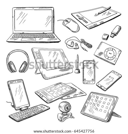Different computer gadgets. Doodle vector illustrations isolate on white. Gadget sketch drawing, electronic laptop and video camera. stock photo