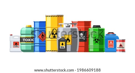 Different container with hazard chemical liquid in row line. Compressed gas and oil safety tank with dangerous radioactive flammable substance vector illustration isolated on white background Сток-фото ©