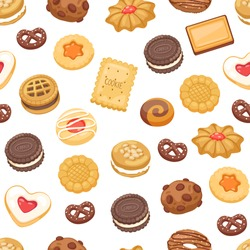 Different cookie cake isolated vector illustration. Tasty holidays traditional sugar cakes food cookie isolated on white. Jam, chocolate and cream background