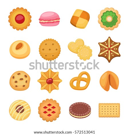 different cookie cakes isolated