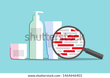 Different cosmetics and magnifier above info about chemical composition. Red blocks are symbolizing dangerous and harmful ingredients. Inspection of formula of beauty or hygiene product Stock photo ©