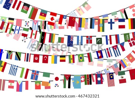 different countries flags hangs