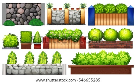 Shutterstock Different design of wall and fence illustration