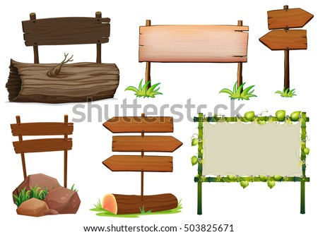 Different design of wooden signs illustration #503825671