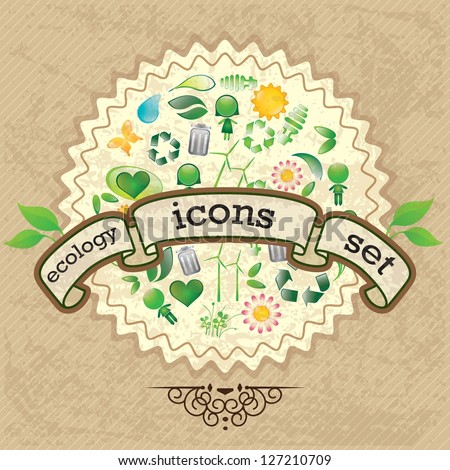 Different eco-Icons to mark a product or service. Vintage background