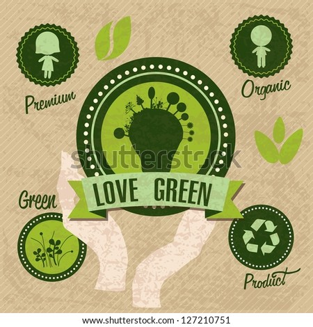Different eco-labels to mark a product or service. Vintage background