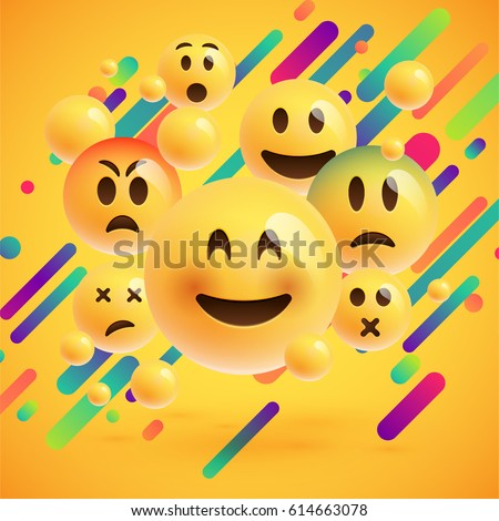 Different emojis with colorful background, vector illustration