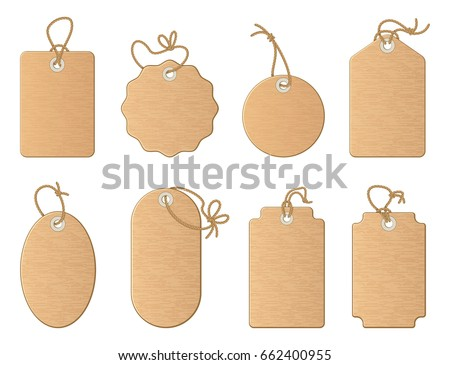 different empty shop tags with