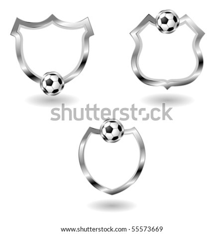 Different empty sport badges isolated over white