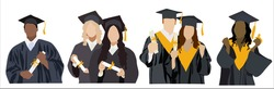 Different ethnic graduated student. Happy students with diplomas wearing academic gown and graduation cap, group with education certificate