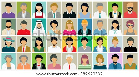 Shutterstock Different faces of people who have both male and female.