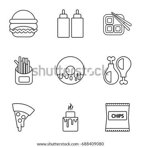 Different fast food icons set. Outline set of 9 different fast food vector icons for web isolated on white background