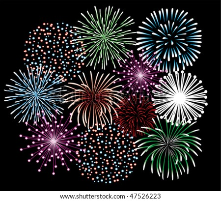 different fireworks vector