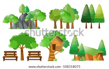 Different forest and park elements illustration