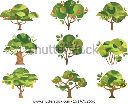 different fruit trees set