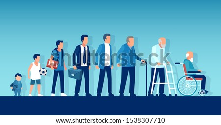 Different generations and life cycle concept. Vector of a growing up baby becoming adolescent, mature man and elderly disabled guy through age evolution stages  ストックフォト ©