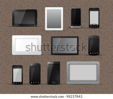 Different Generic Models of Tablet Devices and Smart Phones | EPS10 Vector Graphic | Layers Organized and Named - stock vector