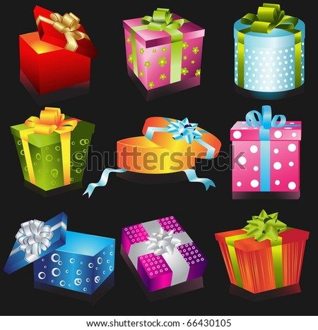 Different gifts illustration on black background - stock vector