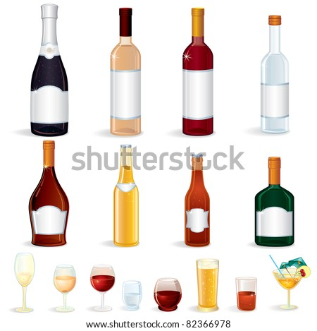 Different glass Bottles with Alcoholic Drinks, vector clip art #82366978