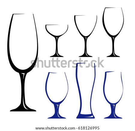 Different Glass For Wine, Juice Or Beer. Black Hand Drawn Silhouettes Of  Glasses.