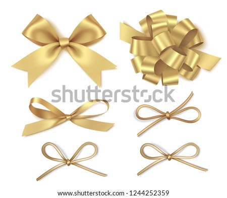 Different golden bow isolated on white background. New year holiday decorations set. Vector illustration