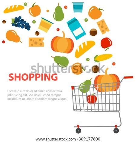 different grocery products are...