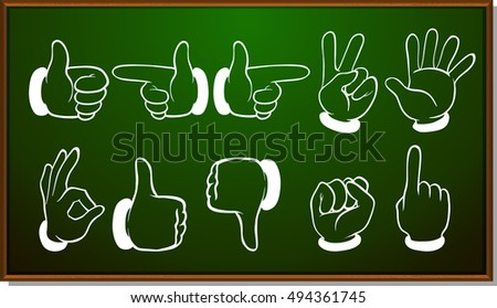 Different hand gestures on blackboard illustration #494361745