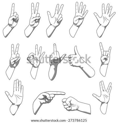 Different hands gestures #273786125