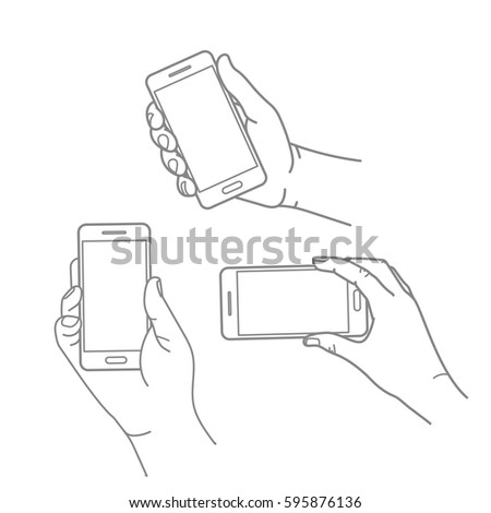 Different hands with modern smartphone vector collection