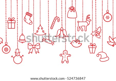 Different hanging Christmas ornaments: Christmas bauble, santa hat, reindeer, angel, gift box, sock,  robbin bird, berry,  Christmas tree seamless garland. Various border isolated on white.