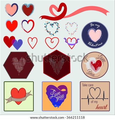 Different hearts decorative cards collection