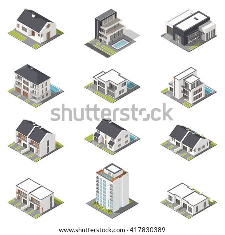 different houses isometric icon