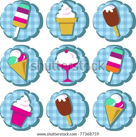 different ice-cream icons on blue background